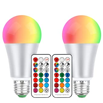 E27 Bombillas LED 10W de color RGBW, cambian de color, rosca Edison, intensidad