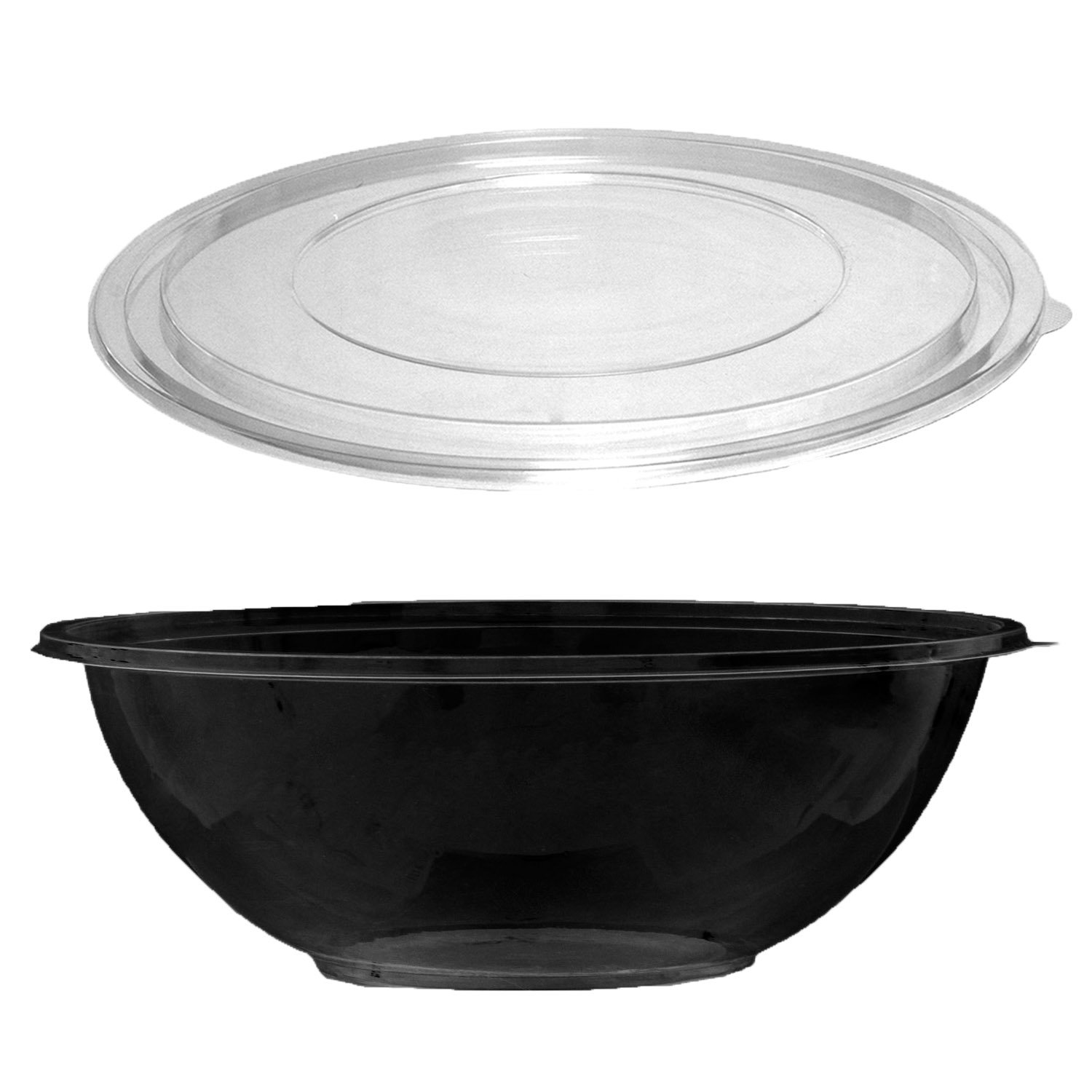 Party Essentials N332017 Soft Plastic 320-Ounce Serving/Catering Bowls, Black with Clear Lids, Set of 2