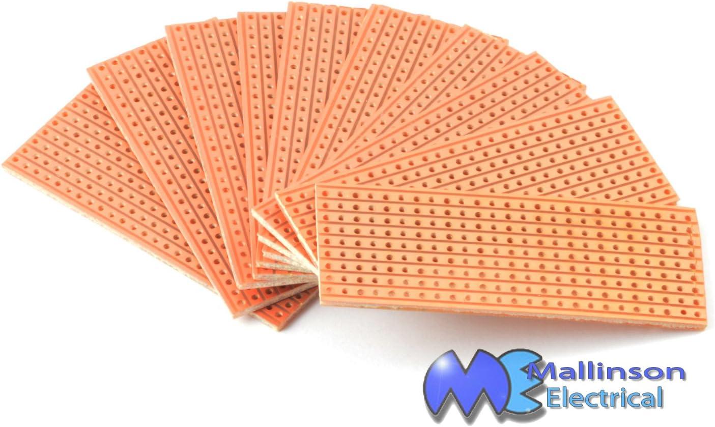 Copper Clad Stribboard 64 x 25 mm Pack of 10 Strip Boards