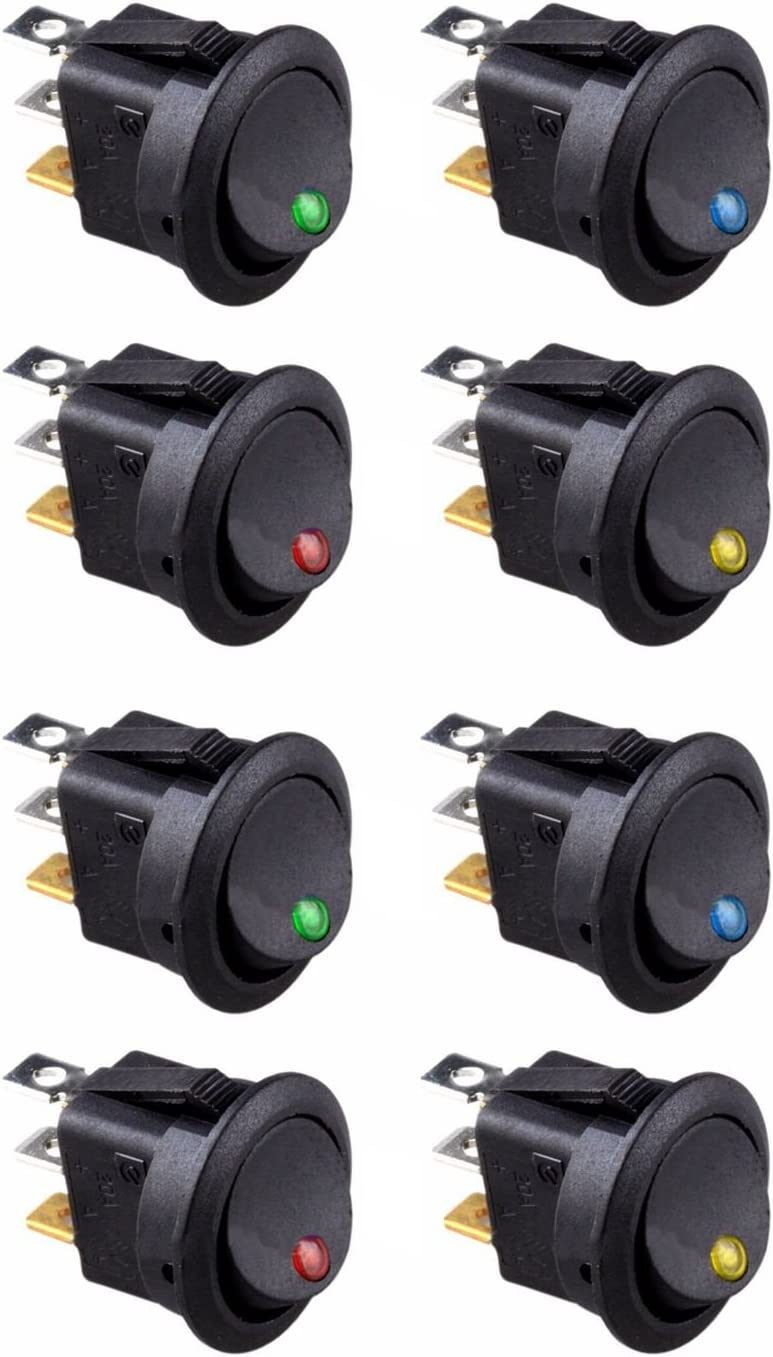 Dasing 8PCS LED Dot Light 12V Car Auto Boat Round Rocker ON//Off Toggle SPST Switch