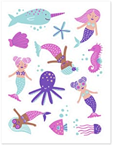Stickies Edible Decorating Stickers Mermaid Cupcake Toppers and Mermaid Cake Decorations (24 count)