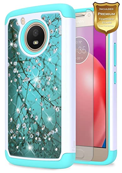 the latest 79e3d 860b4 Moto E4 Case w/[Tempered Glass Screen Protector], NageBee Glitter Diamond  Hybrid Cover w/[Shiny Studded Rhinestone Bling] Sparkle Girls Cute Case for  ...