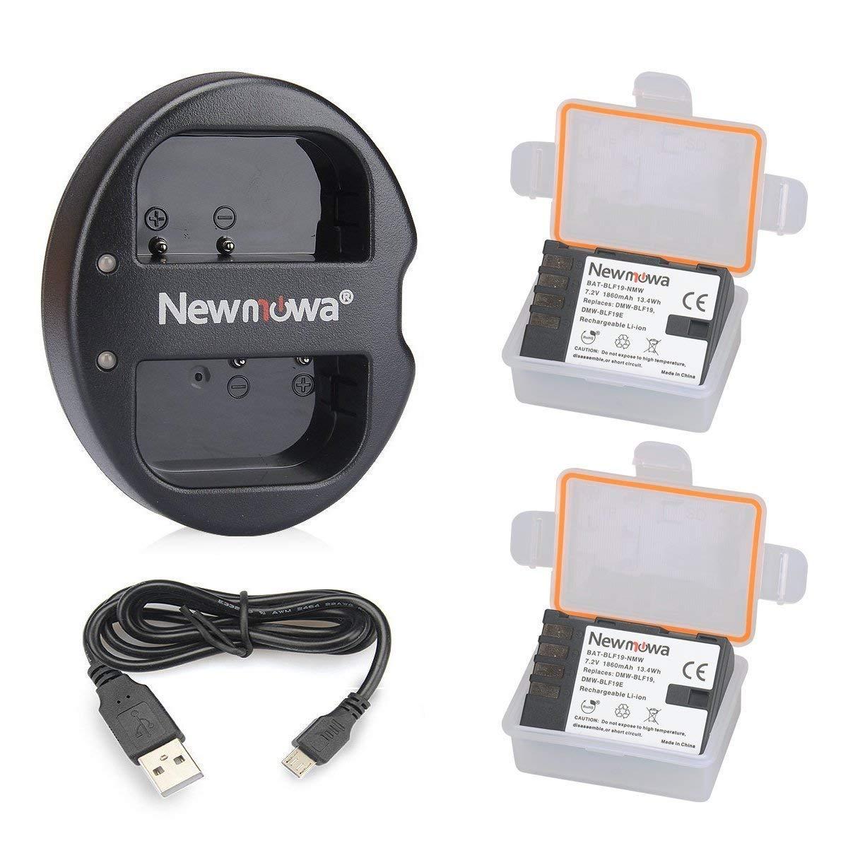 Newmowa DMW-BLF19 Battery (2 pack) and Dual USB Charger for Panasonic DMW-BLF19 and Panasonic DMW-BLF19E Panasonic DMC-GH5 DMC-GH3 DMC-GH3A DMC-GH3H DMC-GH4 DMC-GH4H DC-GH5S by Newmowa