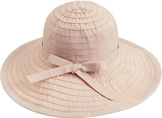 LLmoway Women Beach Sun Hat Packable Wide Brim Cotton Hat with Inner Drawstring