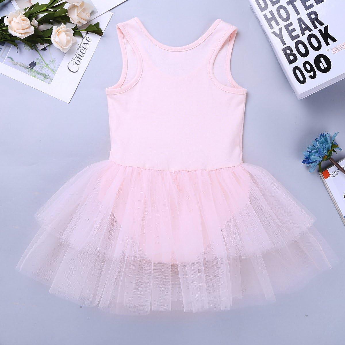 iEFiEL Girls Cotton Tank Top Tiered Mesh Tutu Skirt Ballet Dance Gymnastics Leotard Layered Dress