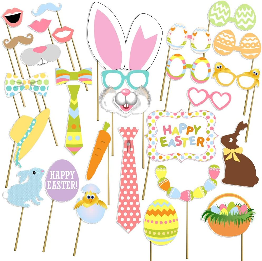 [USA-Sales] Easter Photo Props, Birthday Photo Booth Props, NO DIY Required, Attached to The Sticks, by USA Sales Seller