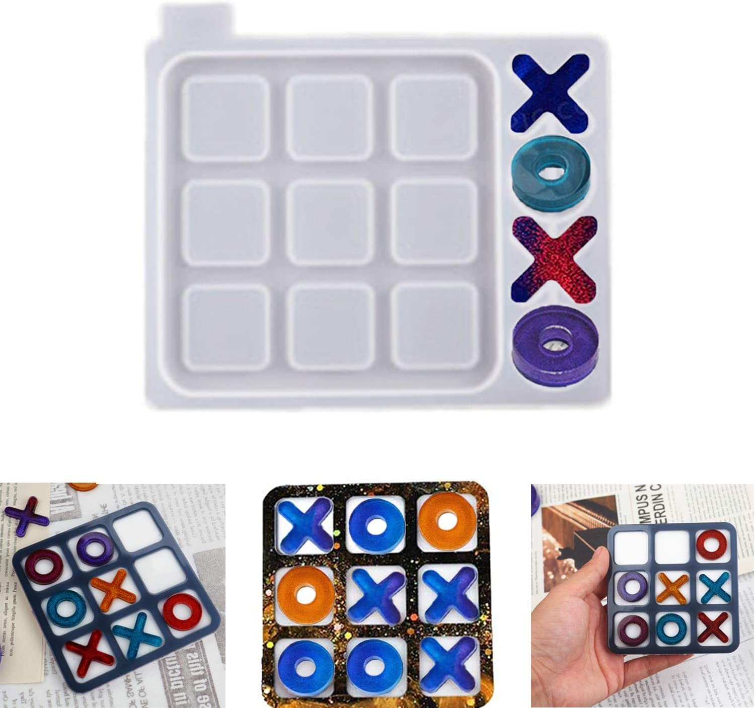 Amazon Com Tic Tac Toe Mold X O Board Game Silicone Resin Mold Kit Modern Farmhouse Porch Decor Coffee Game Table Decor Trouble Game For Kids Friends Adults S