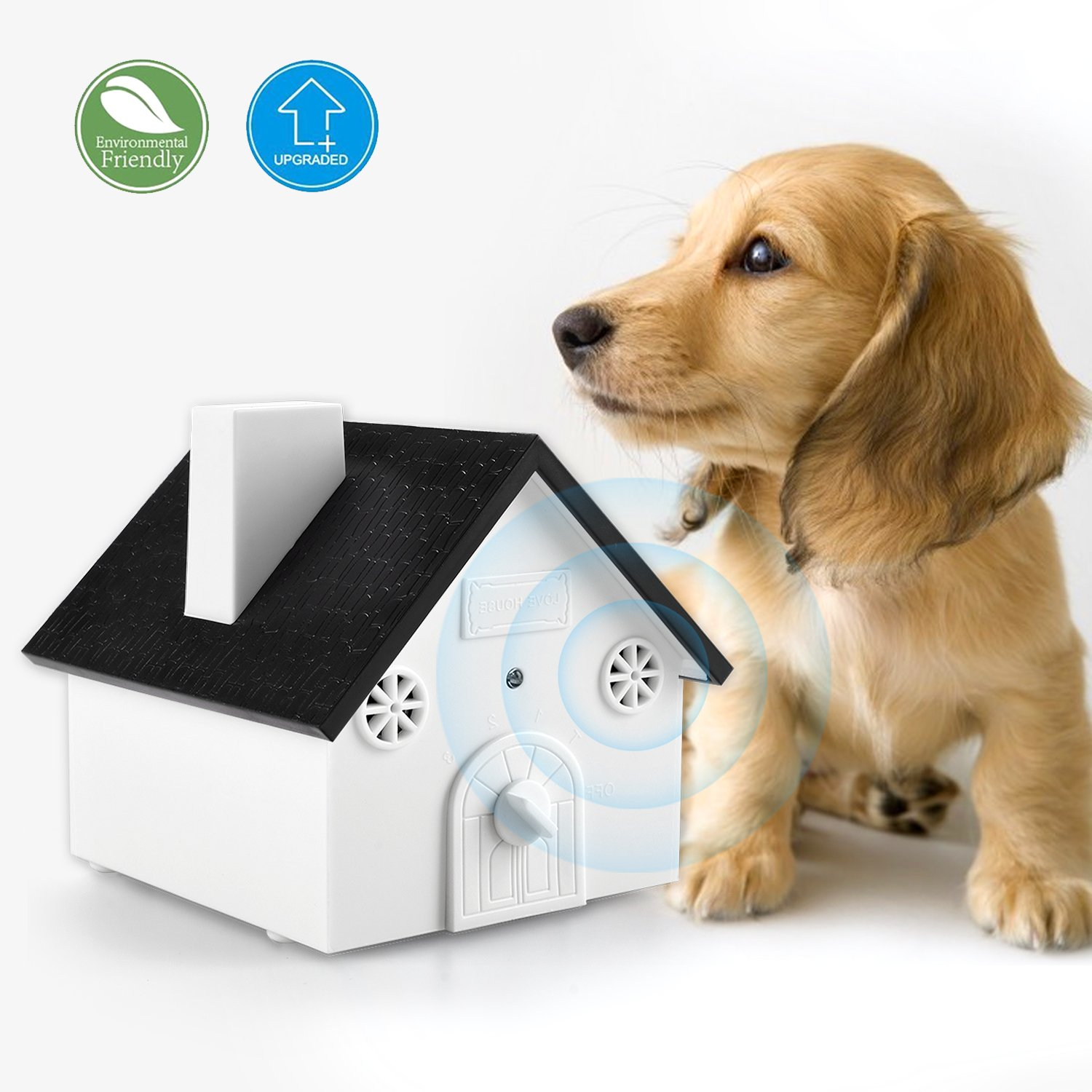 Homitem Ultrasonic Outdoor Bark Controller Anti-barking Devices Sonic Bark Deterrent by, No Harm To Dogs or other Pets,Plant,Human,Easy Hanging/Mounting,3 Modes,Birdhouse Shaped(White)