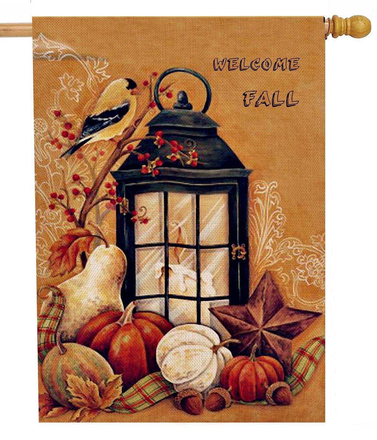 Dyrenson Welcome Fall Orioles Bird 28 x 40 House Flag Quote Double Sided, Autumn Harvest Pumpkin Primitive Garden Yard Decoration, Seasonal Outdoor Décor Decorative Large Flag Vintage Candle Light