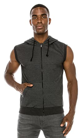 b3393f86aa78f Angel Cola Men s Sleeveless Hoodie Zip Up Midweight Cotton Vest at ...