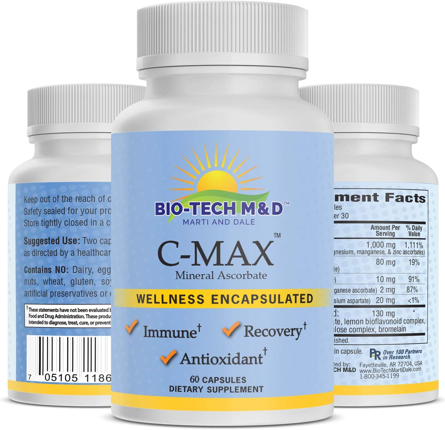 C-Max Vitamin C Dietary supplement ascorbic acid essential nutrient powerful antioxidant for immune system natural citrus bioflavonoid normal histamine levels blood vessels bones tissue repair - 60 Ca