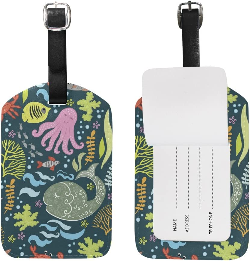 Chen Miranda Underwater World Luggage Tag PU Leather Travel Suitcase Label ID Tag Baggage claim tag for Trolley case Kids Bag 1 Piece