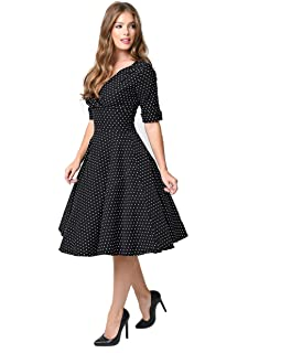 2fee32a478 Unique Vintage 1950s Black   White Dot Delores Swing Dress with Sleeves
