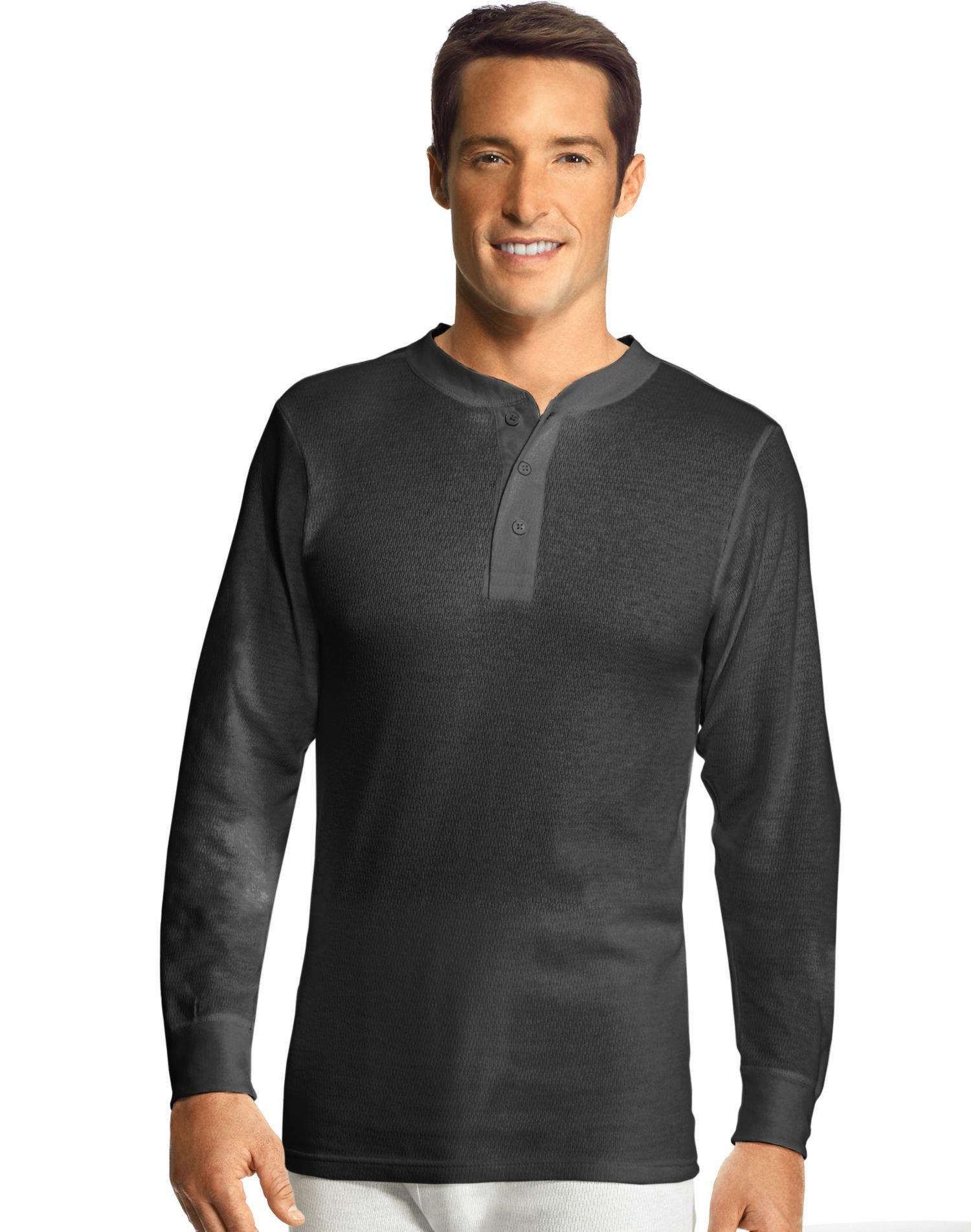 Hanes Men's X-Temp Thermal Longsleeve Henley Top, Black, X-Large