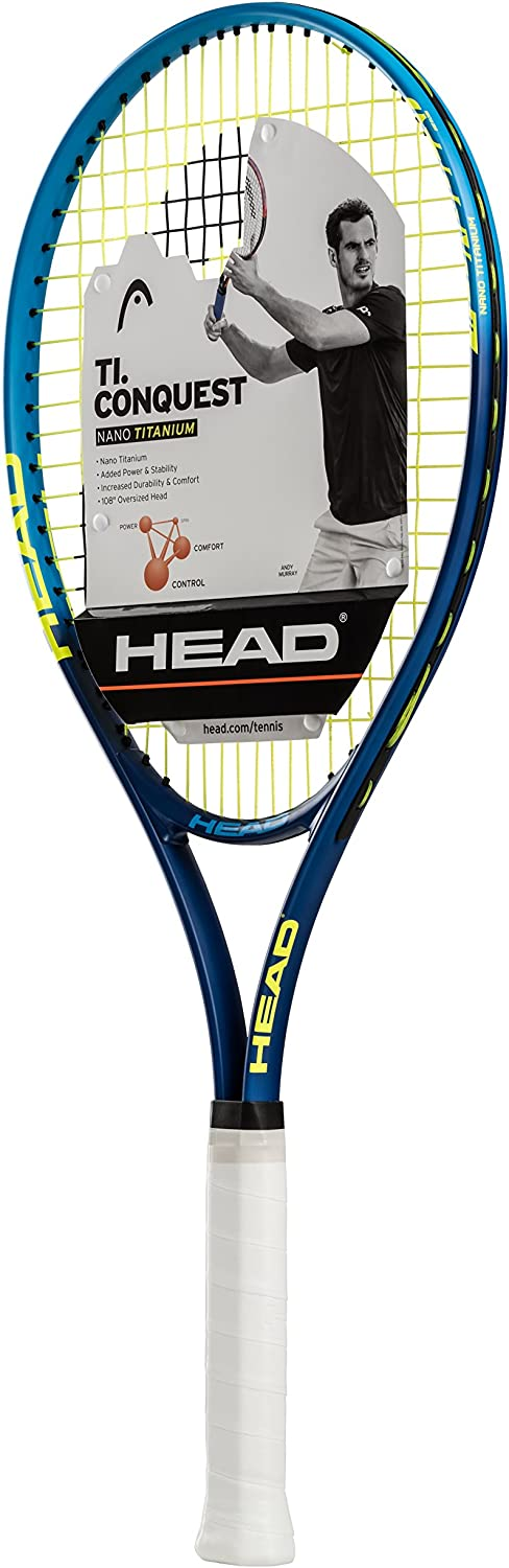 HEAD Ti. Conquest Tennis Racket – Pre-Strung Head Light Balance 27 Inch Racquet – 4 1 4 In Grip