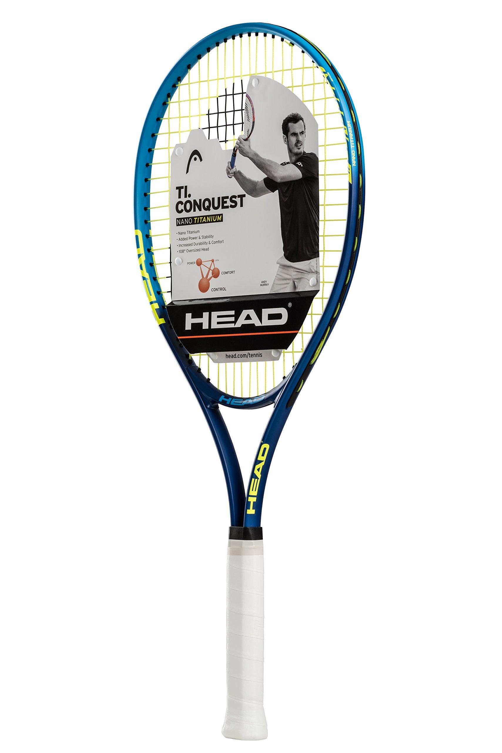 HEAD Ti.Conquest Tennis Racquet, Strung, 4 3/8 Inch Grip