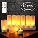 Expower 12er LED Flammenlose Kerzen Wiederaufladbare Kerzen Batteriebetriebene Flammenlose Kerzen Kabellose Teelichter LED-Weihnachtskerzen Led Wachskerzen Mit Ladestation Fernbedienung(Ohne Netzteil)