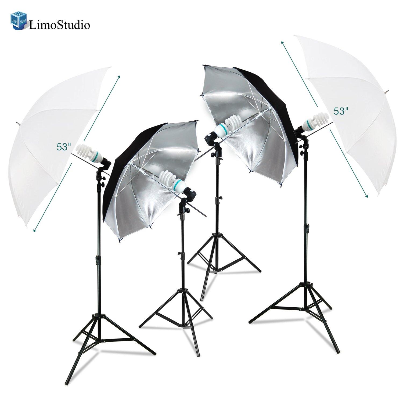 LimoStudio [ Set of 2 ]ホワイトandブラック/シルバー傘照明キットライトスタンド三脚、45 W CFLフォト電球とソケットライトホルダー, and carry bag for写真とビデオスタジオ、agg2762 B07F71W24T