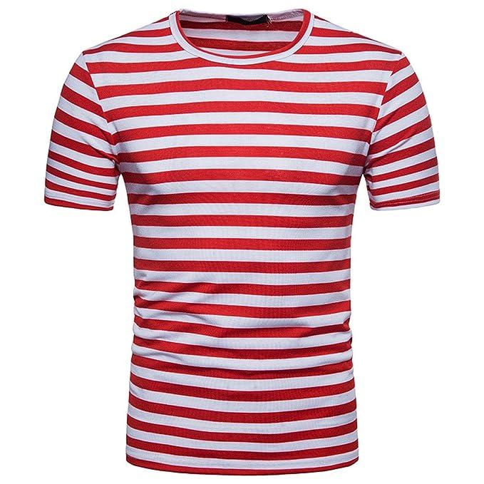 TWBB Casual Hombre Camiseta Manga Corta Cuello Redondo Raya  Amazon.es   Ropa y accesorios c1aab15abe4