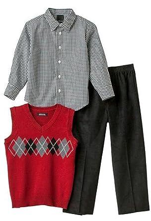 c7de5d1df6 Amazon.com  Little Boys Van Heusen 3pc Sweater set Vest Shirt Pants ...
