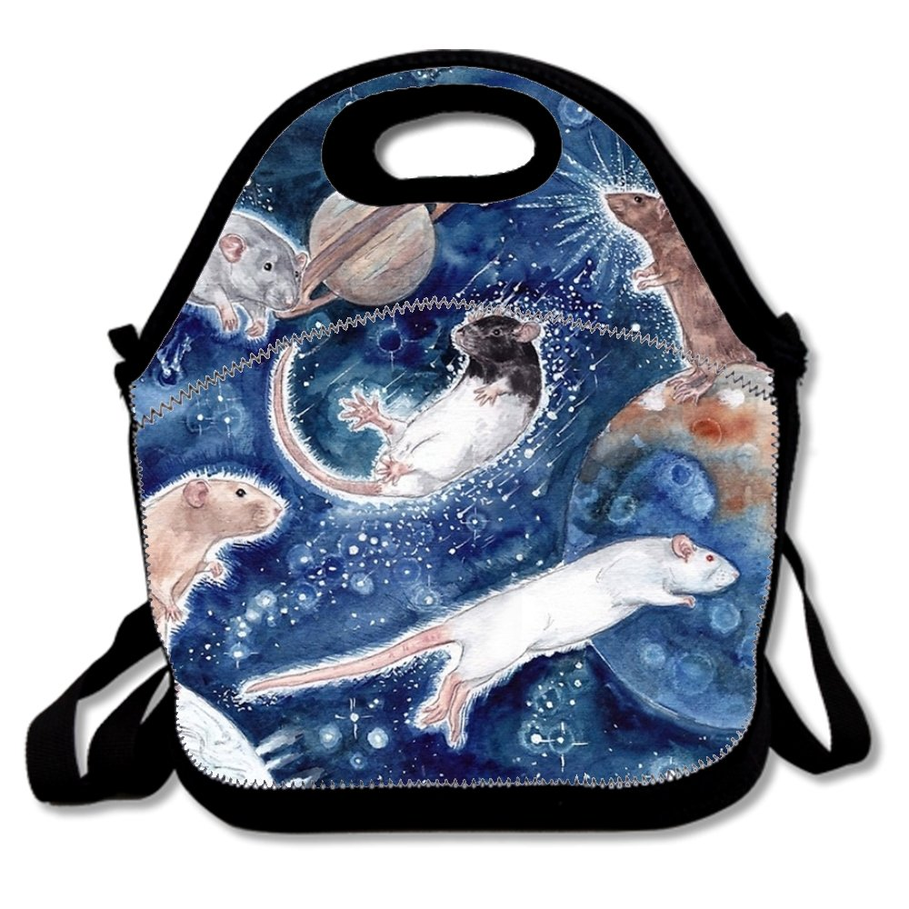 Rats Are Stars Spelled Backwards Print Insulated Lunch Tote Bag Lunchbox for School Work ZRRTTG