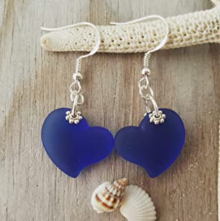 """product image for Handmade in Hawaii,""""Twin Hearts"""" Cobalt Sapphire sea glass earrings,""""September Birthstone"""", (Hawaii Gift Wrapped, Customizable Gift Message)"""