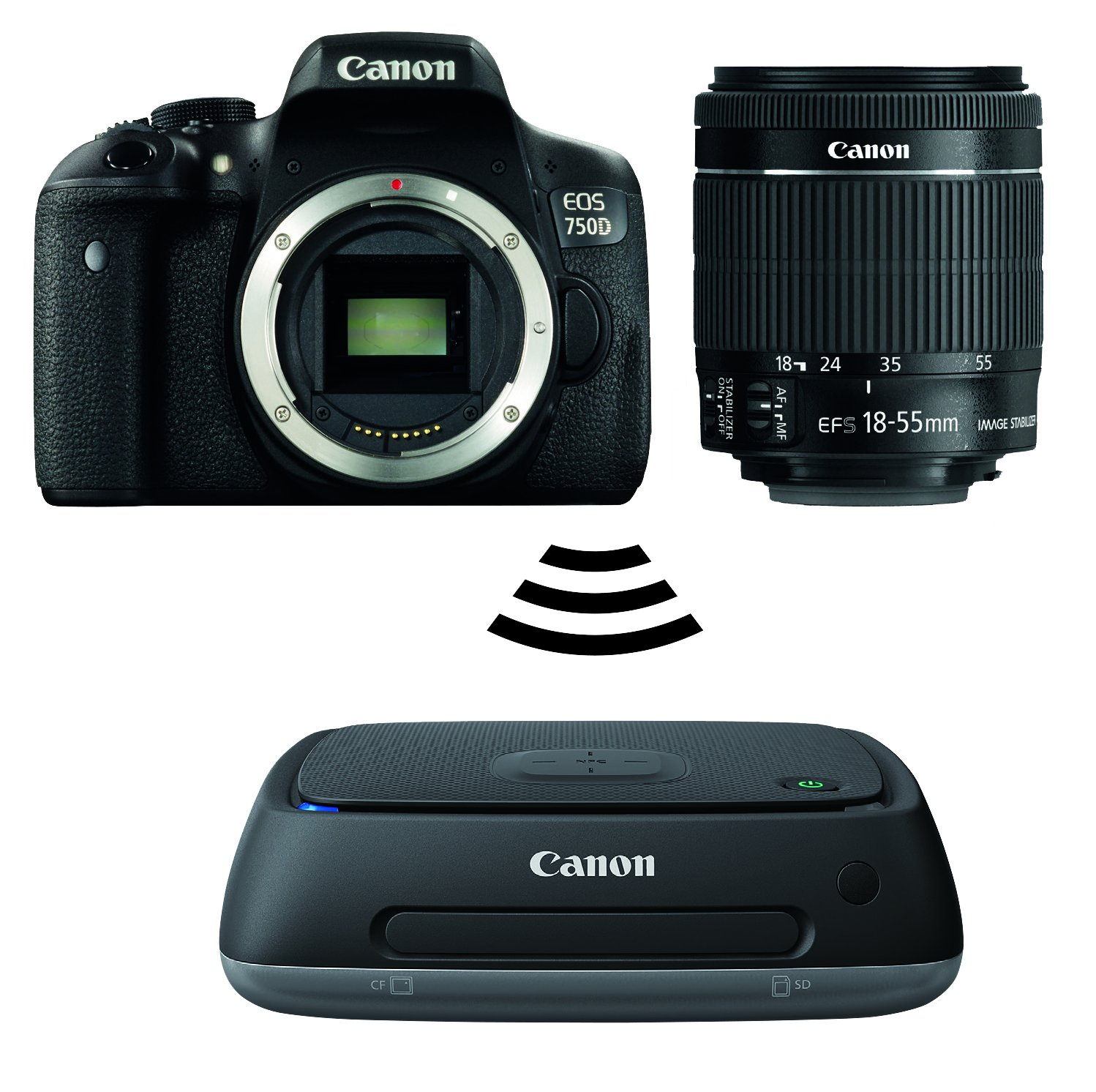 Canon EOS 750D Kit Fotocamera Reflex Digitale da 24 Megapixel con Obiettivo EF-S 18-55 mm IS STM, Connect Station CS100, Memorizzazione su Cloud, Nero/Antracite product image