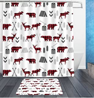Buffalo Plaid Woodland Moose White Shower Curtain Liner With Hooks And Bath Rug Mat
