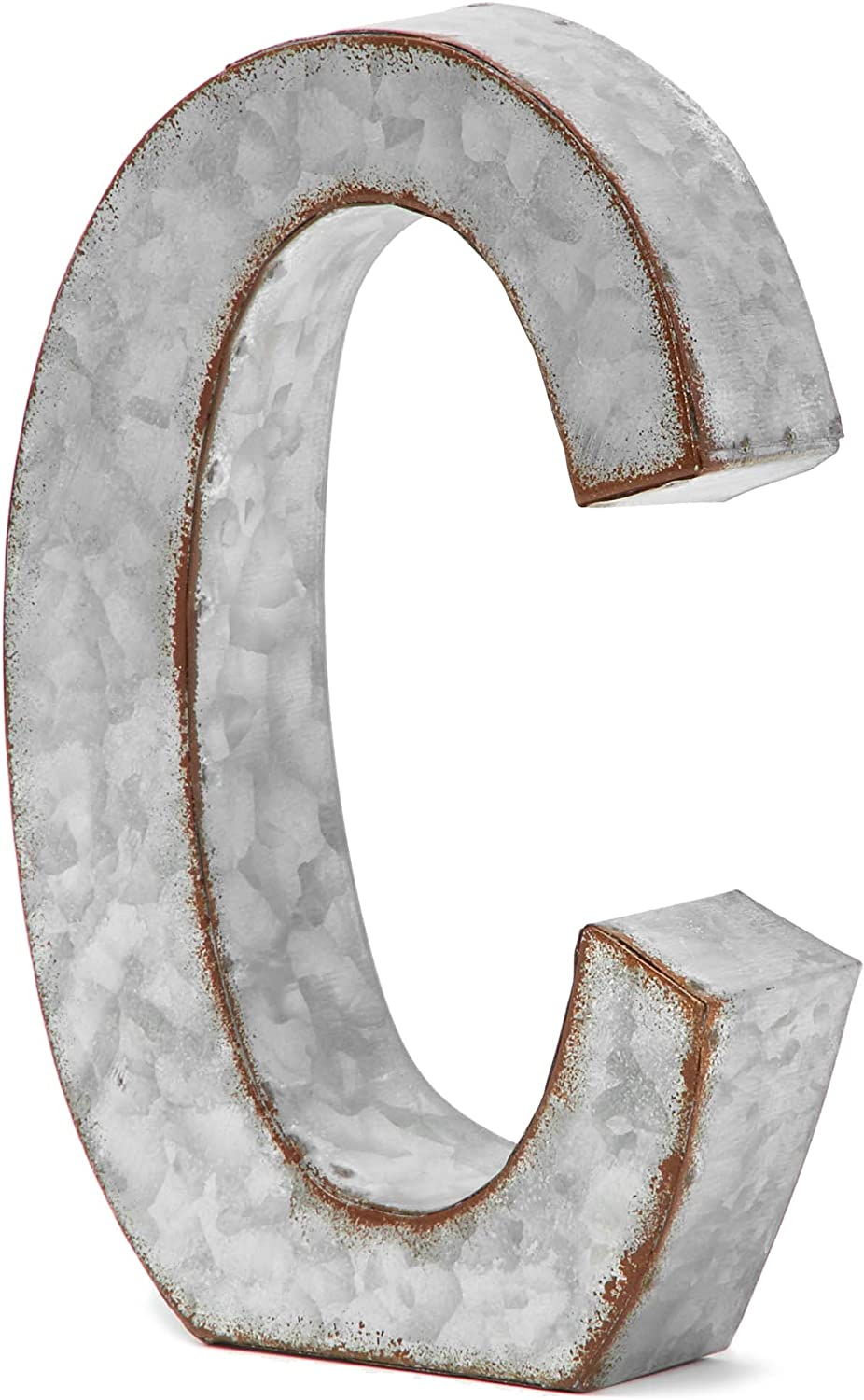 Bright Creations Rustic Letter Wall Decor - Galvanized Metal 3D Letter C Decor