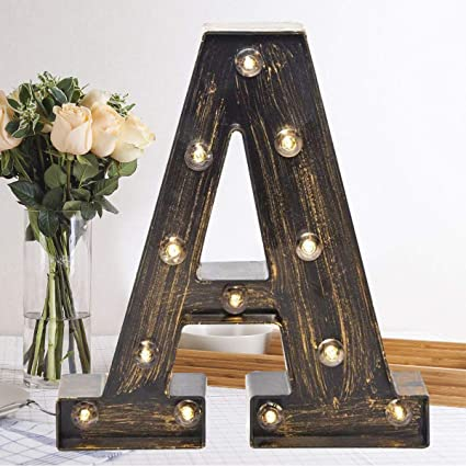 Industrial Vintage Style Light Up Alphabet Letter Sign for Cafe Wedding Birthday Party Christmas Lamp Home Bar Initials Decor Oycbuzo Golden Black Led Marquee Letter