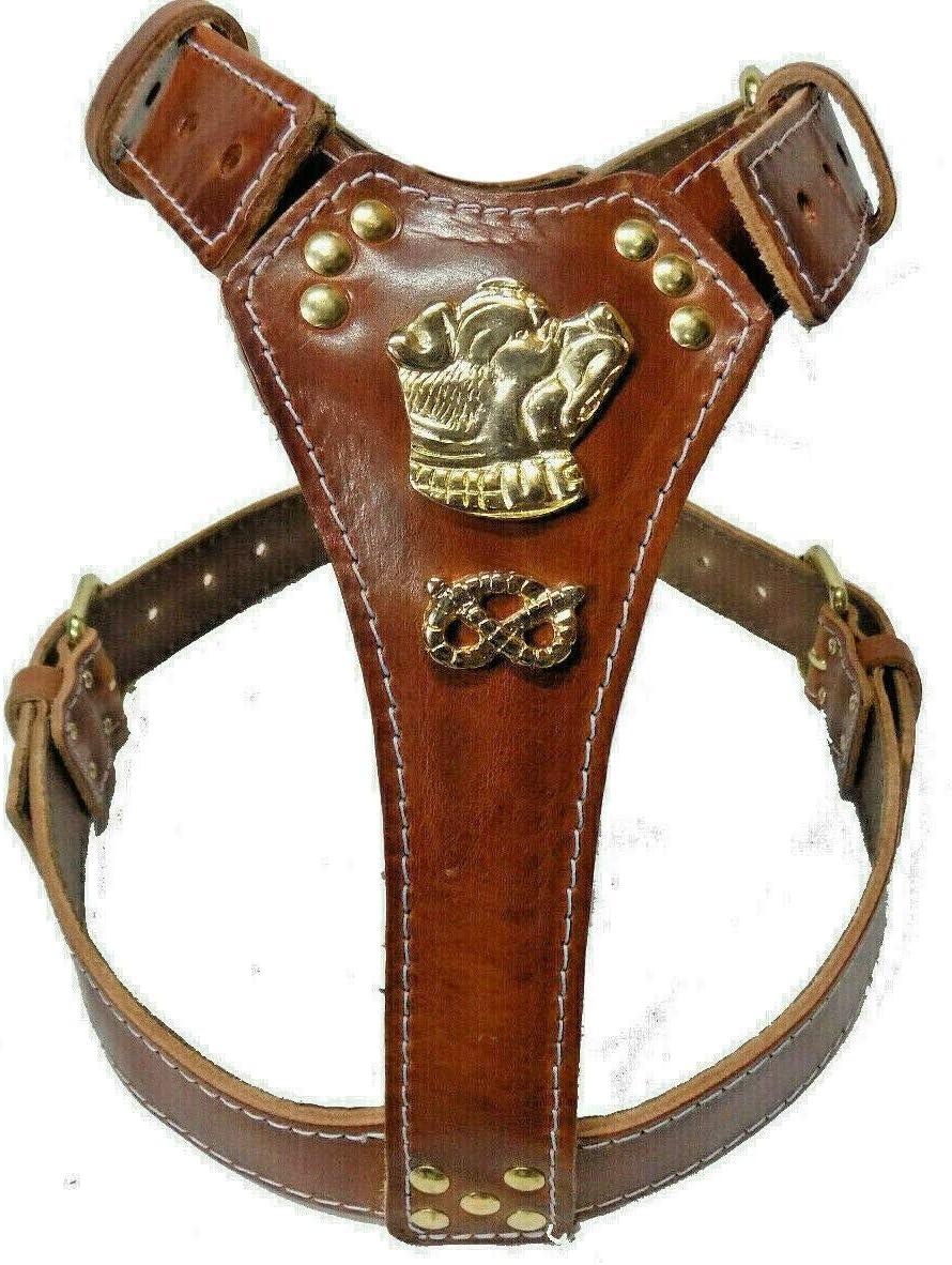 Leather Dog Harness Arnés de Piel para Perro con diseño de Cabeza ...