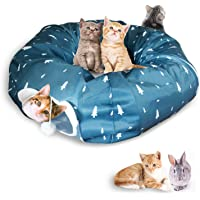 """Cat Tube and Tunnel with Central Mat for Cat Dog,410D Cloth Material and Full Moon Shaped, Length 98"""" Diameter 9.8"""", 2…"""