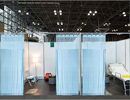 ChadMade 15ft Wide x 8ft Tall Hospital Curtain with Grommet for Hospital Medical Clinic SPA Lab Cubicle Curtain Divider Privacy Screen Blue, 1 Panel