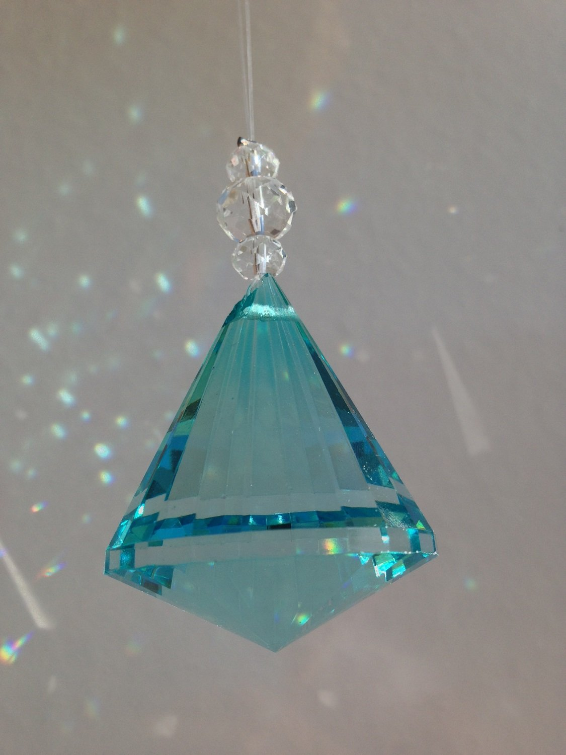 Hanging Multifaceted Teal Acrylic Prism Diamond Drop Ornament
