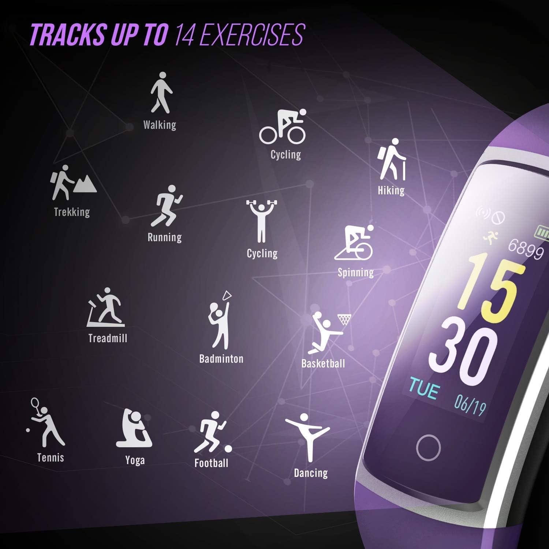 Fitness Fitness Tracker con monitor de presión arterial HR – 2019 reloj de pulsera de actividad con monitor de ritmo cardíaco color IP68 podómetro contador de calorías para mujeres y niños, Púrpura: