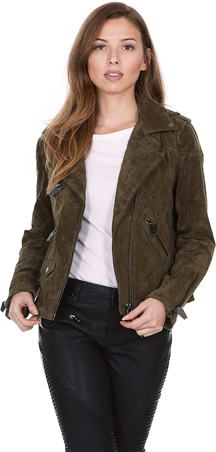 SILENT NEW YORK Women's Suede Non-Belted Moto Jacket