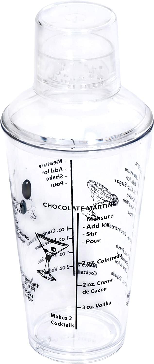 Drink Mixer with Measurements /& Cocktail Recipes Break Resistant Clear Acrylic Cocktail Bar Shaker 18 ounces
