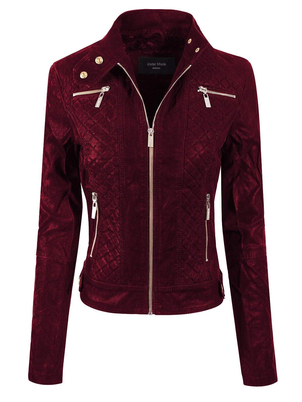 Ijkw026 Wine Instar Mode Women's Long Sleeve Zipper Closure Moto Biker Faux Leather Jacket