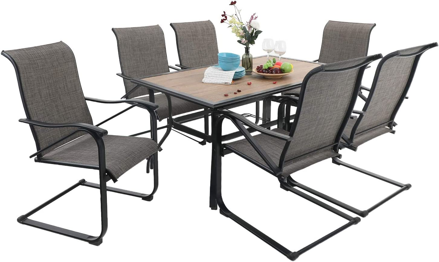 """PHI VILLA Patio Set, Metal 60""""x 37"""" Large Wooden Top Patio Dining Table and 6 Sling Motion Chairs 7 Piece Outdoor Furniture Garden Backyard Bistro Set, 1.56"""" Umbrella Hole, Black"""