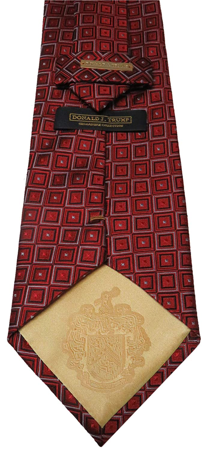 Donald Trump Signature Collection Neck Tie Red Black and Silver with Gold Emblem
