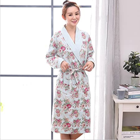 d92b64d7f3 Bathrobes Women s Nightdress Lady Cotton Bathrobe Spring And Autumn Women s  Summer Long-sleeved Cotton Pajamas