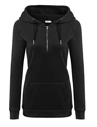 Hotouch Women's Basic Long Sleeve Fleece Pullover Hoodie With ...