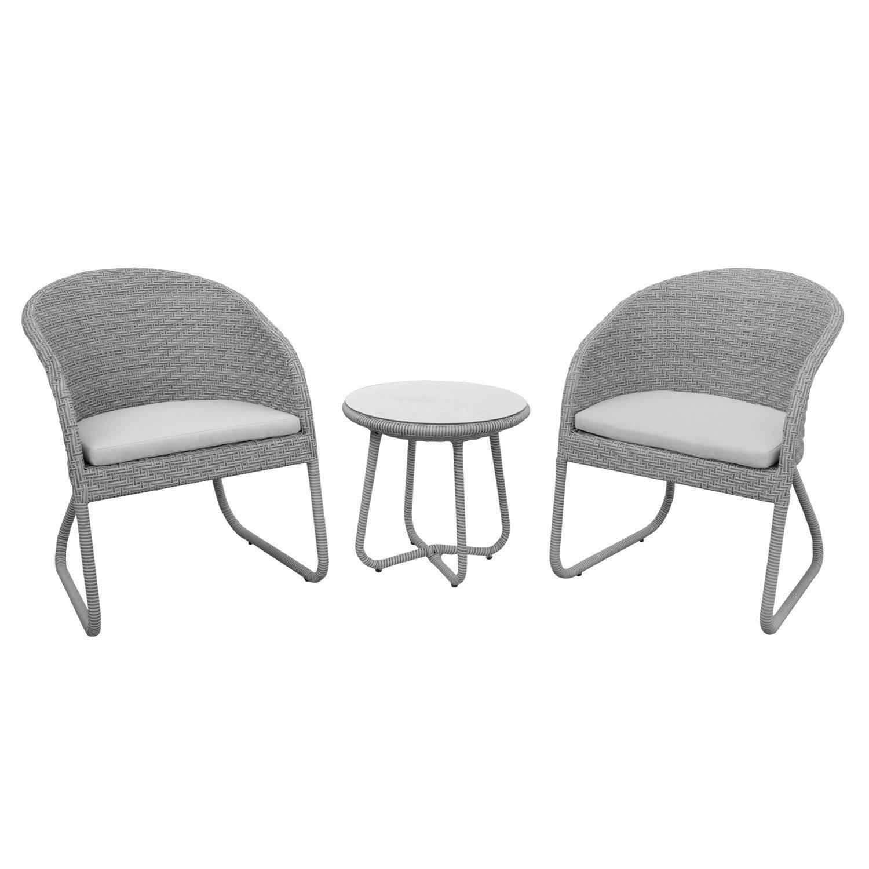 Rattanmöbel balkon grau  anndora® Susila Rattan Sitzgruppe Balkon Gartenmöbel 2 Stühle mit ...
