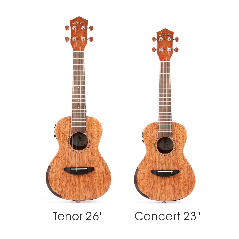 Donner 23 pollice Ukulele Concerto in solido legno di Mogano Corpo con EQ Accordatore DUC-4E