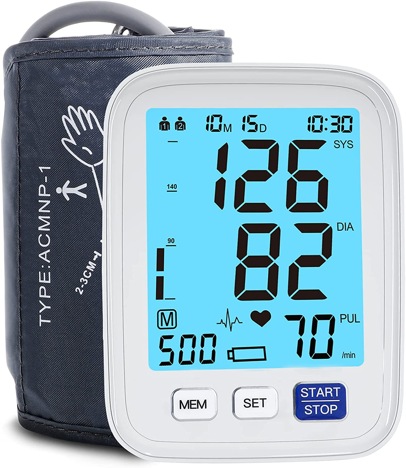 Blood Pressure Monitor Upper Arm Large Cuff ,Automatic Digital Blood Pressure Cuffs for Home Use BP Machine Large LCD Backlit 2x500 Readings Includes Batteries Irregular Heartbeat Detector