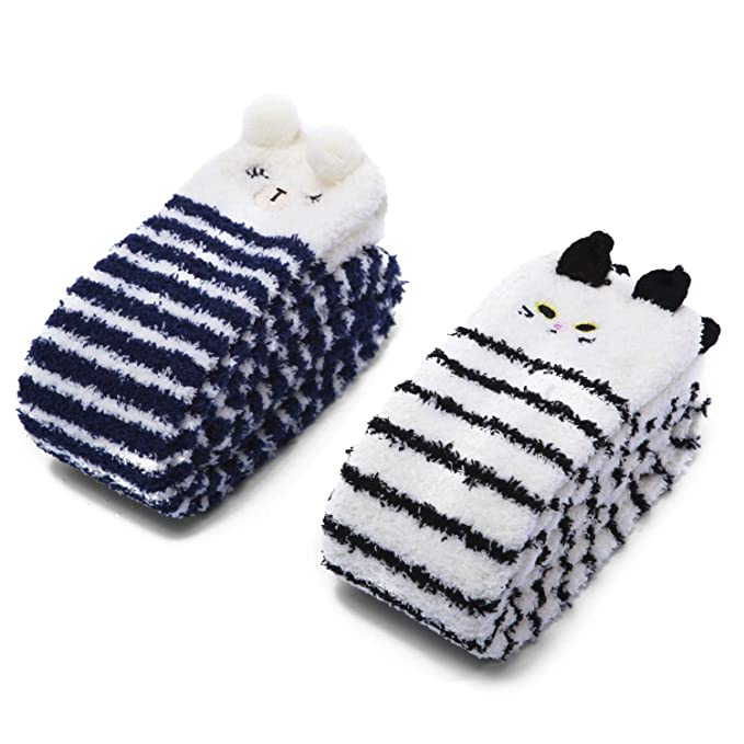 de3532a1c03 Littleforbig Cute Animal Coral Fleece Thigh High Long Striped Socks 2 Pairs  (Blue-Black