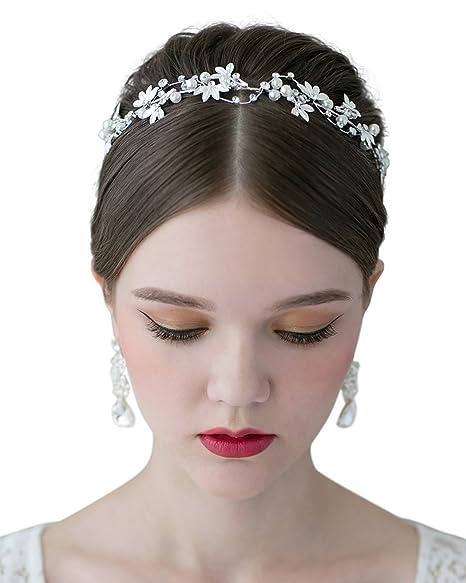 SWEETV Tiara Diadema Con Rhinestones Para Fiesta Novia Boda Corona Flor Nupcial Tocado Accesorios del Pelo de las Mujeres