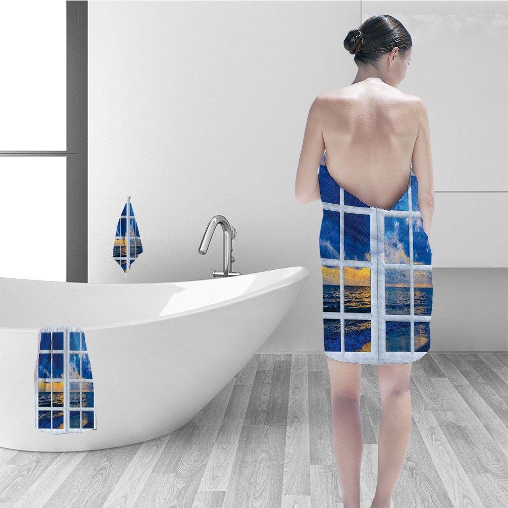 Nalahomeqq Bath towel set House Decor Sun on the Sea Scenery from Window Open Horizon Silence Relax Artprint Bathroom Accessories Blue White