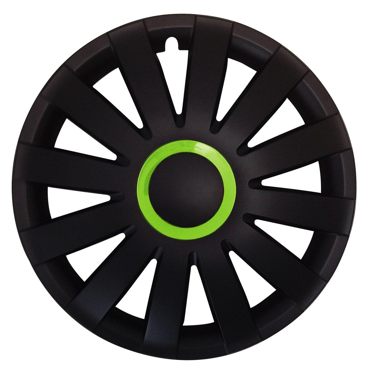 Tapacubos - Tapacubos Tapacubos Racing con anillo verde 14 pulgadas 14 R14 universal apto para casi todos los vehículos estándar con llantas de acero z.B. ...