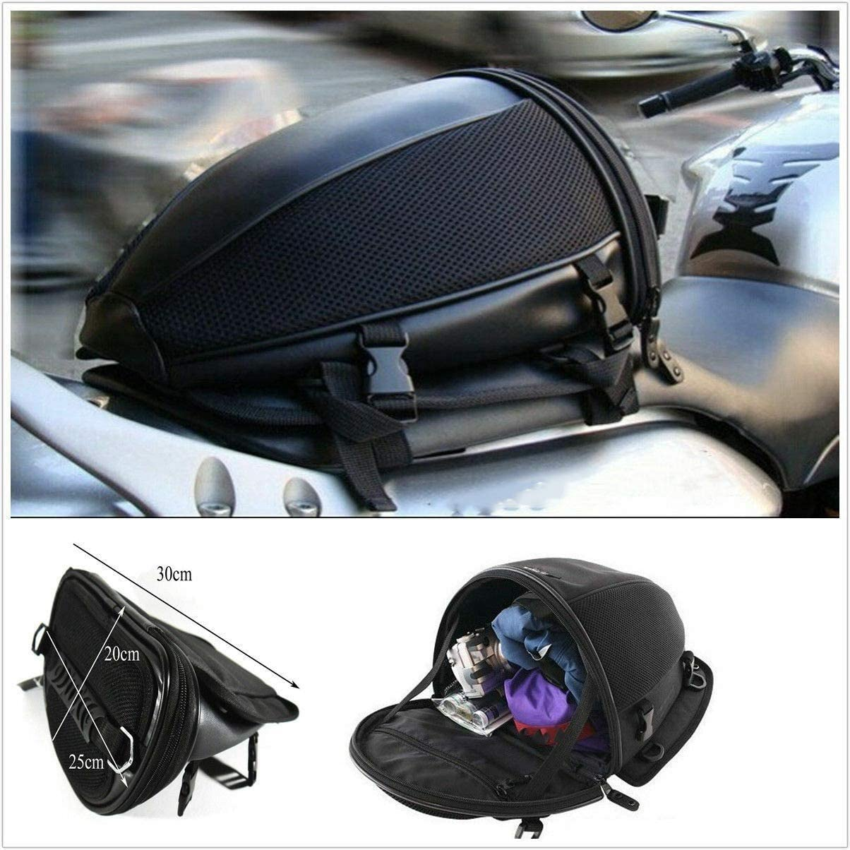 Semoic Portable Dual Sport Bike Waterproof Back Seat Carry Bag Luggage Tail Saddlebag